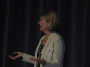 Keynote speaker Meg Bear, VP Cloud Social Platform at Oracle, addressing the audience